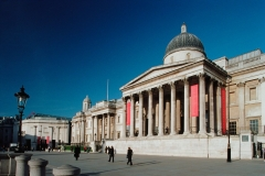 Exterior of The National Gallery, Wilkins Building and Sainsbury Wing.